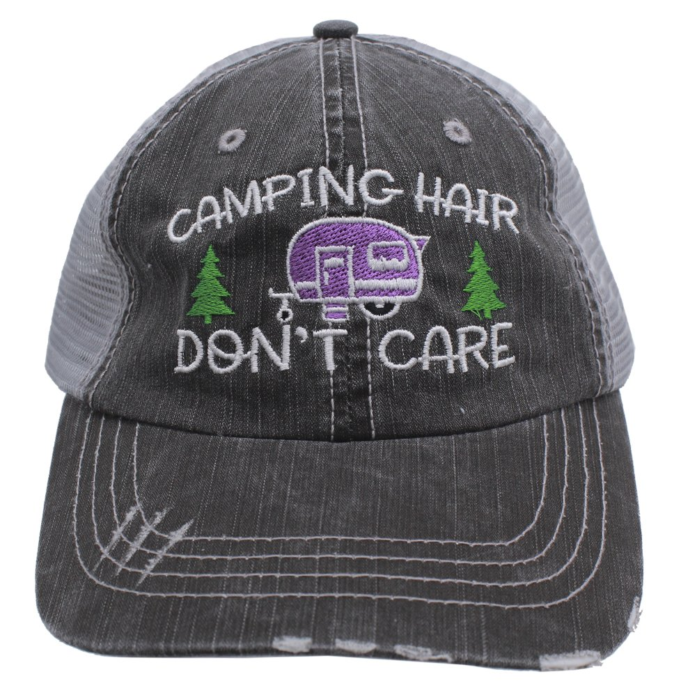 Purple Camping Hair Don't Care Women Embroidered Trucker Style Cap Hat