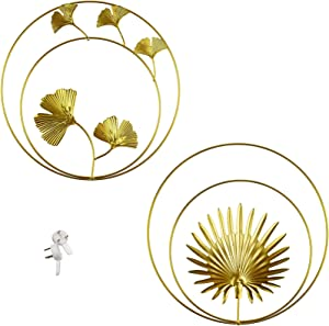 Majurphy Iron Wall Sculptures Round Gold Metal Wall Decor Golden Gingko Biloba Palm Leaf Wall Nature Ethnic Decor Art for Home,Bedroom,Living Room,Office,Hotel Decoration(Gold Rounded, 2)