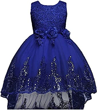 AGOGO Ball Girls Flower Embroidered Tulle Sharpen Dress Layered Trailing Formal Wedding Party Bridesmaid Prom Ball
