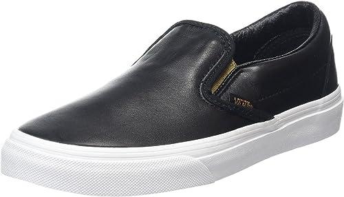 Classic Black Gold Womens Leather Slip