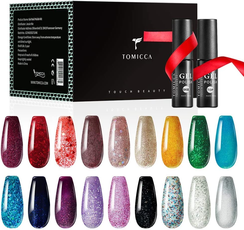 TOMICCA Esmaltes Semipermanentes de Uñas Brillante en Gel UV LED, 18pcs Kit de Esmaltes de Uñas en Gel Soak Off Pintauñas Permanente +Base y Top Coat: Amazon.es: Belleza