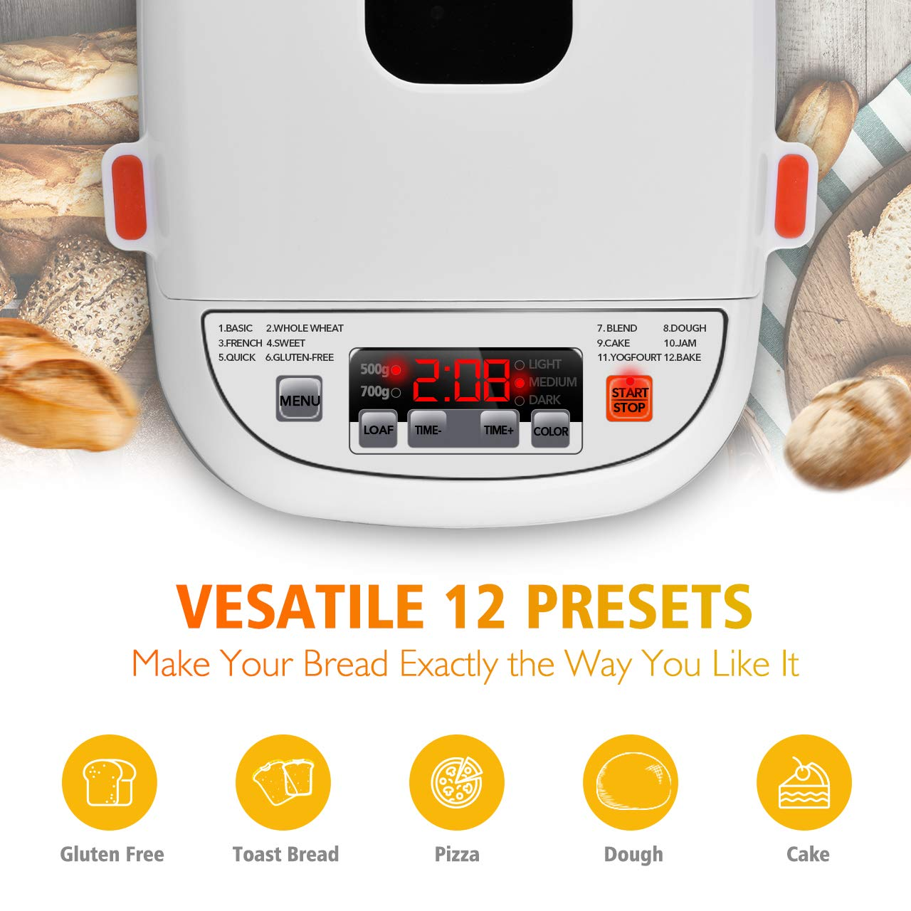 VIVREAL Bread Maker, Automatic Breadmaker Machine 1.5LB, Home Bakery Pro 12 Menus with Gluten Free, 3 Crust Colors 2 Loaf Sizes, 15h Delay Time 1h Keep Warm, Superior Safety ETL Listed Stainless Steel by VIVREAL (Image #3)