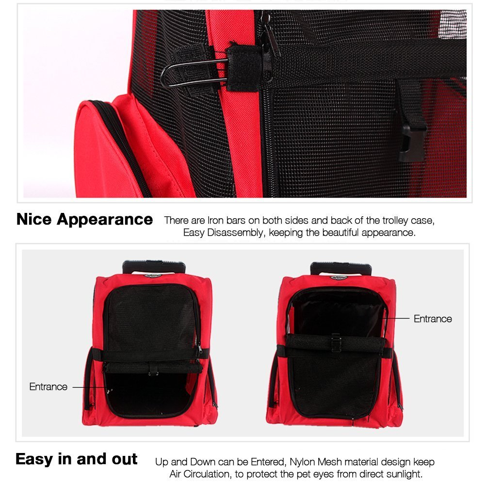 Pettom Roll Around 4-in-1 Pet Carrier Travel Backpack for Dogs & Cats&Small Animals Travel Tote Airline Approved (Small-Hold pet up to 10 lbs, Purple) by Pettom (Image #6)