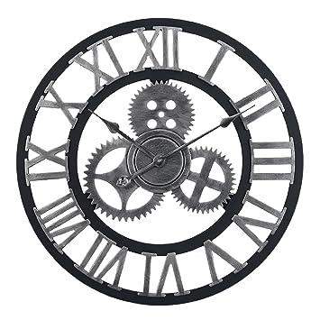 Reloj Pared Grande, Mecotech 60cm Madera Vintage Engranajes Silencioso DIY Creativo Reloj de pared (