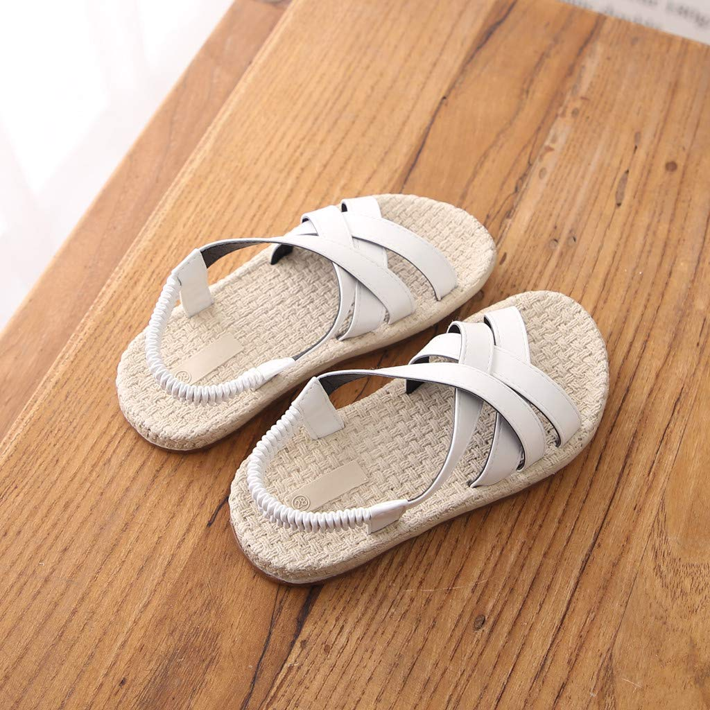 Randolly Toddler Shoes,Kids Baby Girls Summer Cross Elastic Band Princess Roman Shoes Beach Sandals