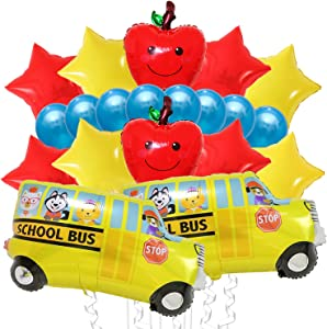 Back to School Balloons Decorations Kit - Large, Pack of 20 | Apple Shape Balloon, School Bus Decorations Balloons and Red, Yellow Star Balloons | Back to School Decorations for First Day of Classroom
