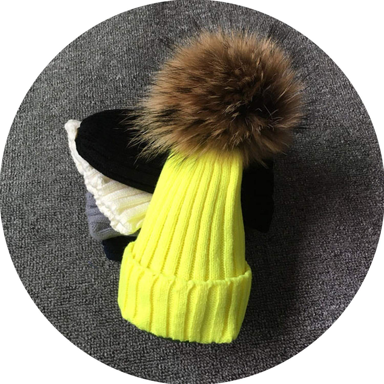 Secret-shop Female Fur Pom Poms hat Winter Hat for Women Girl s Hat Knitted Beanies Cap Hat,Yellow with Fur,Kid Size