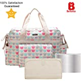 Diaper Tote Bags - Multi-Function Waterproof Travel Tote Bag Nappy Bags for Baby Care with Stroller Straps, Changing Pad and Sundry Bag, Large Capacity, Stylish and Durable (Cute Bear)