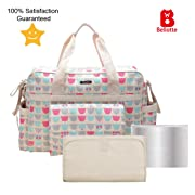 Bellotte Diaper Tote Bags - Multi-Function Waterproof Travel Tote Bag Nappy Bags for Baby Care with Stroller Straps, Changing Pad and Sundry Bag, Large Capacity, Stylish and Durable (Cute Bear)
