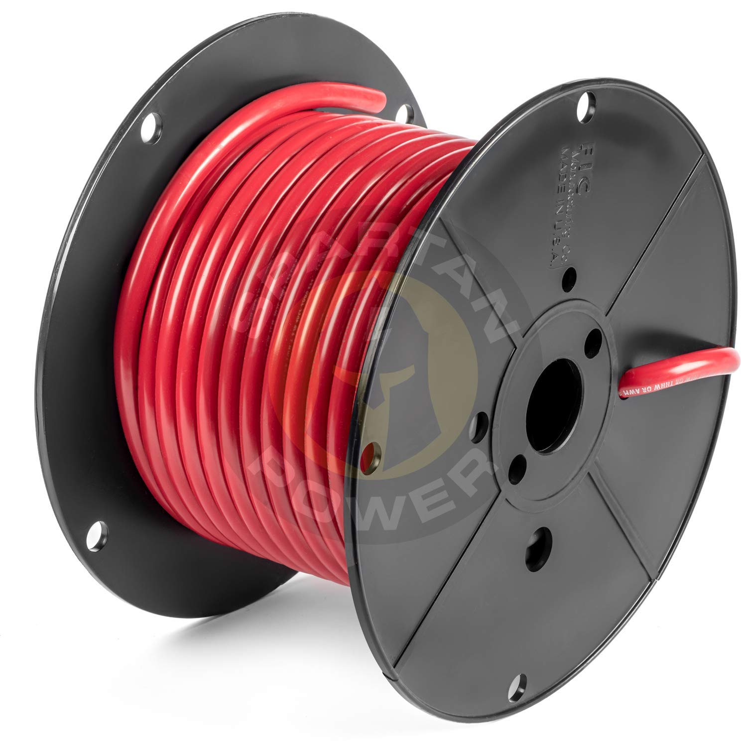 100 Feet Red 2 AWG Battery Cable by Spartan Power Made in The USA UL Listed 100% Pure Cooper Wire by Spartan Power