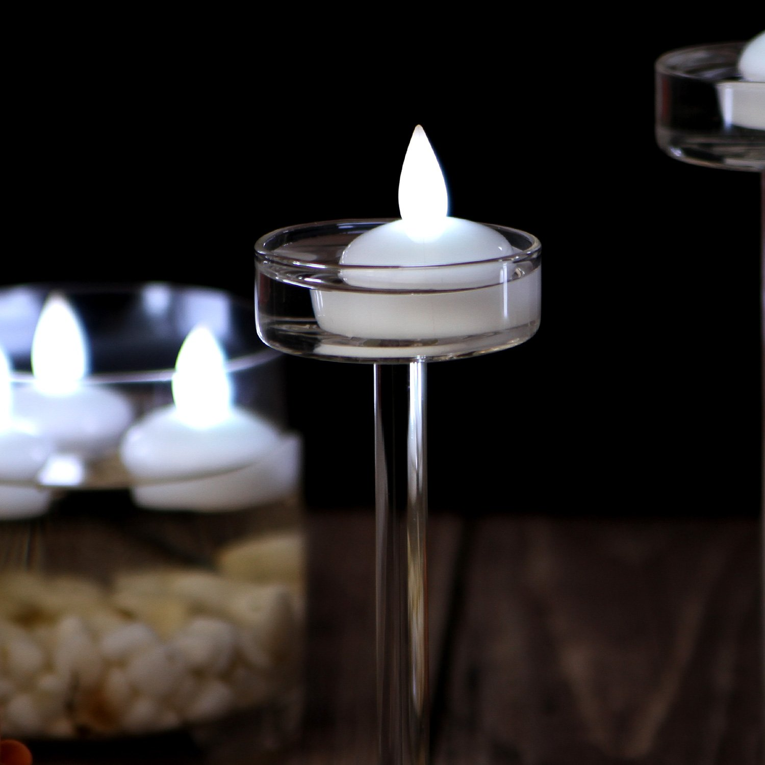 IMAGE Flickering Flameless Floating LED Candles 12PCS Smokeless Waterproof Floating LED Tealights Candles Wedding Party Spa Home Indoor Outdoor Decor-Cool White