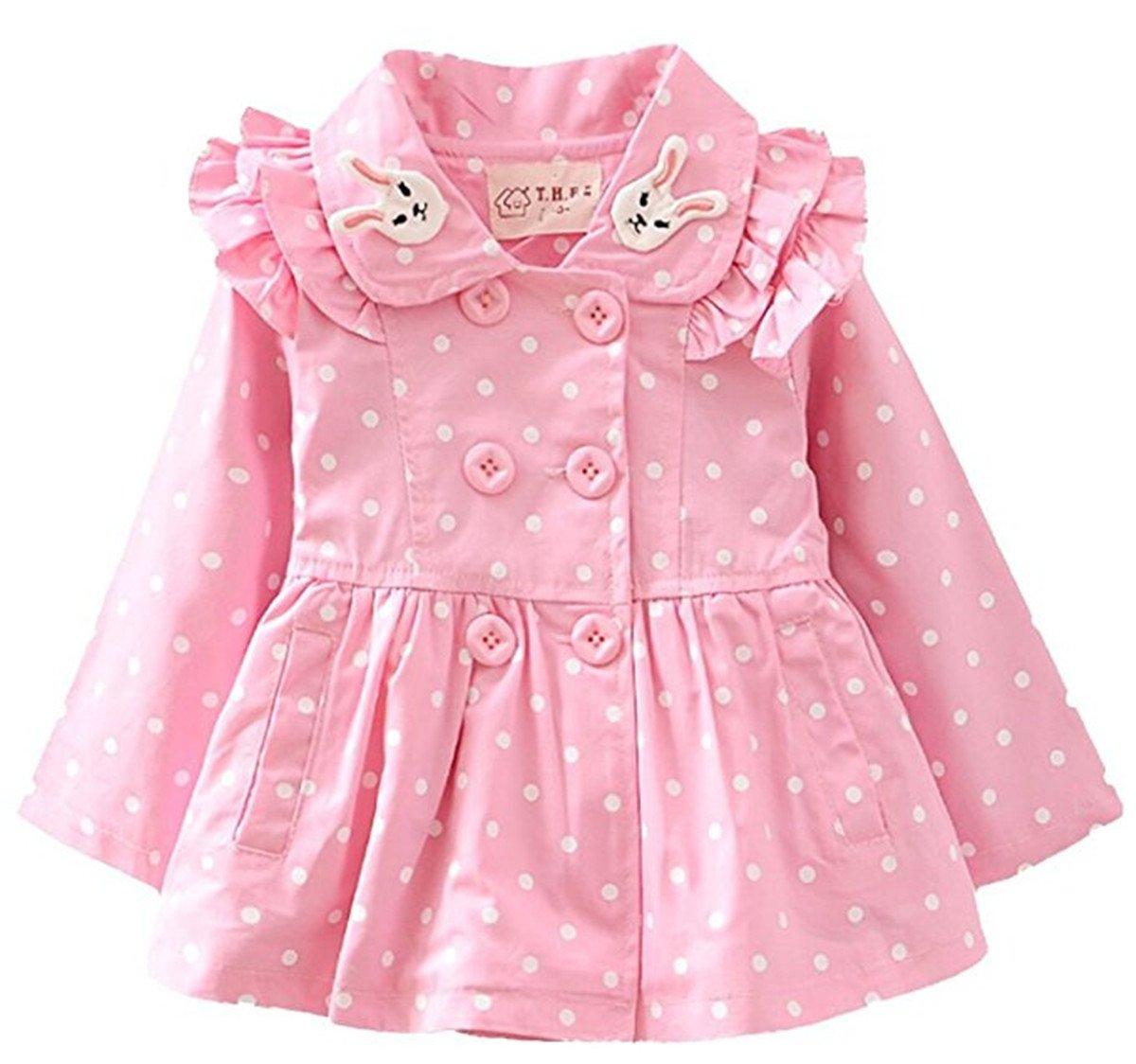 FAIRYRAIN Baby Kid Little Girls Rabbit Polka Dot Hoodie Wind Proof Jacket Coat Outerwear