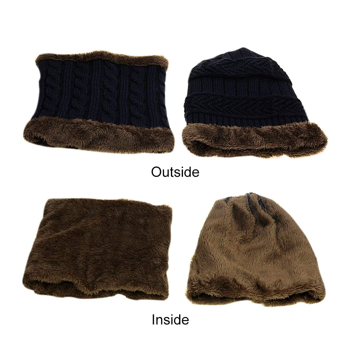 JUSTIME Warm Knitted Hat and Circle Scarf Skiing Hat Outdoor Sports Hat Sets (Navy Blue Hat+Scarf)