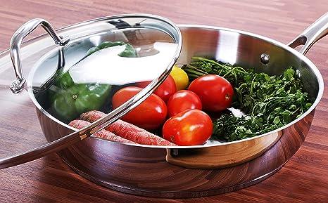 Sartén - Sarten Antiadherente - Acero Inoxidable Sarten Induccion - 30.5 cm – Plata – por Utopia Kitchen