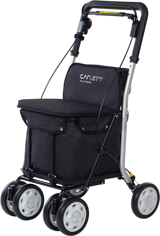 Carlett Carro DE LA Compra-Andador Lett 800 con Asiento, Coleccion 2020, Negro TXT, Black, 55 x 47 x 92 cm