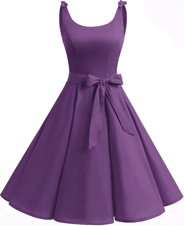 TALLA XS. Bbonlinedress Vestidos de 1950 Estampado Vintage Retro Cóctel Rockabilly con Lazo Purple XS