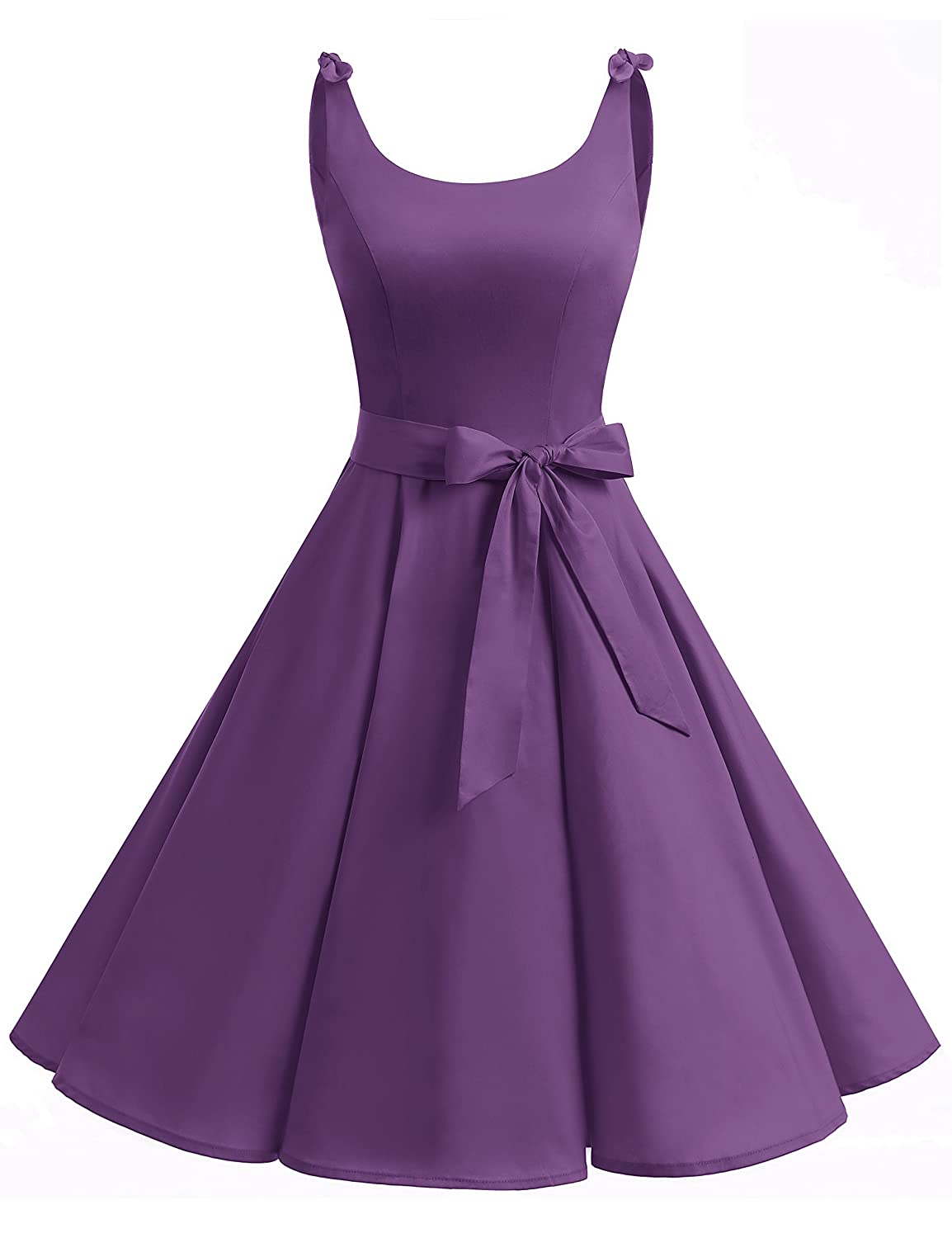 TALLA XL. Bbonlinedress Vestidos de 1950 Estampado Vintage Retro Cóctel Rockabilly con Lazo Purple XL