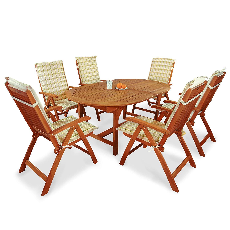 Indoba Top Gartenmöbel Set 13-teilig Gartenset inkl, Auflagen Tisch (Ausziehbar) Gartenstühle (verstellbar) Gartenmöbelset