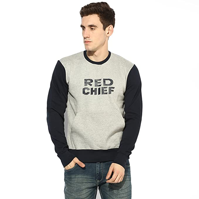 2a7e6d259d Red Chief Men s Grey Full Sleeves Casual Regular Fit Sweatshirts (8310023  G0052)  Amazon.in  Clothing   Accessories
