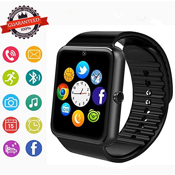 Smartwatch, Bluetooth Smart Watch Phone with SIM Card Slot\Camera\Pedometer\Touch Screen Wristwatch for Android Samsung Huawei HTC Sony LG Google ...