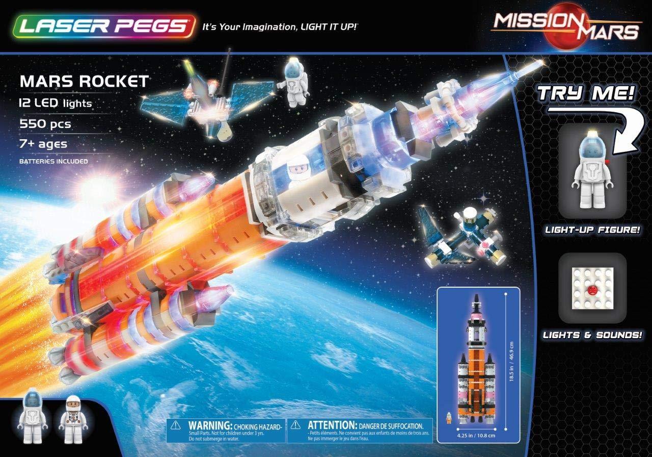MARS ROCKET 93418001 LASER PEGS Glowing LED Mars Rocket Rockets or Mars Explorer Start A Space Journey And Explore The Surface Of Mars LED Blocks (MARS ROCKET)
