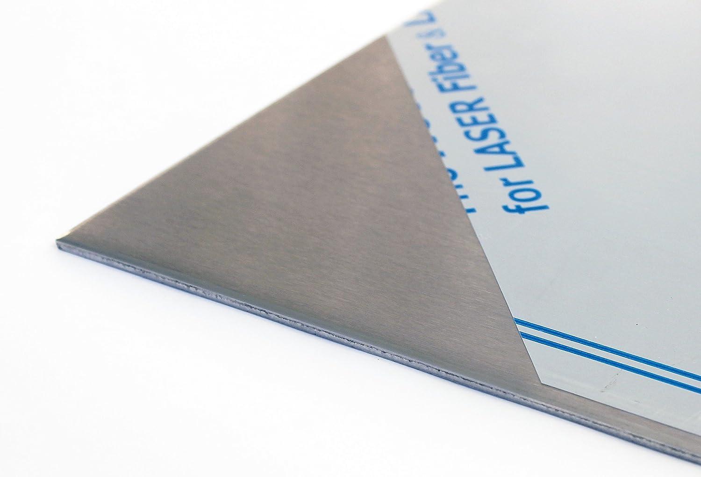 Chapa de acero inoxidable de 3mm, V2A, K 240, rectificada por un lado, lámina de hasta 1000 x 1000mm., acero inoxidable, Breite in mm: 200, Länge in mm: 100