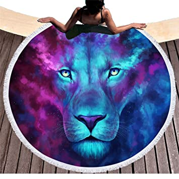 mágica azul y lila León redondas Toallas con borlas indio mandala León Impresión playa roundie Modelos