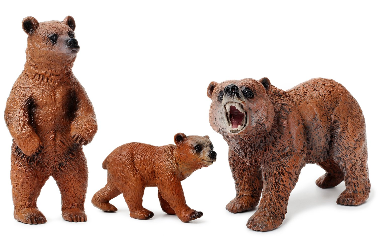 UANDME Miniature Grizzly Bear Toy Figurines, Set of 3 Bear Figures, North American Wildlife Grizzlies Male, Female and Cub (Set) by UANDME (Image #1)