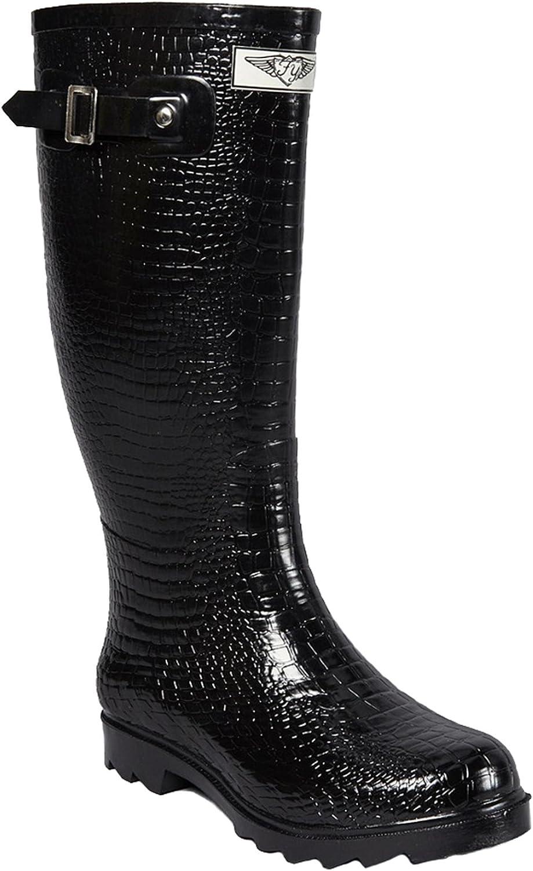 Faux Croc Tall Rubber Rain Boots