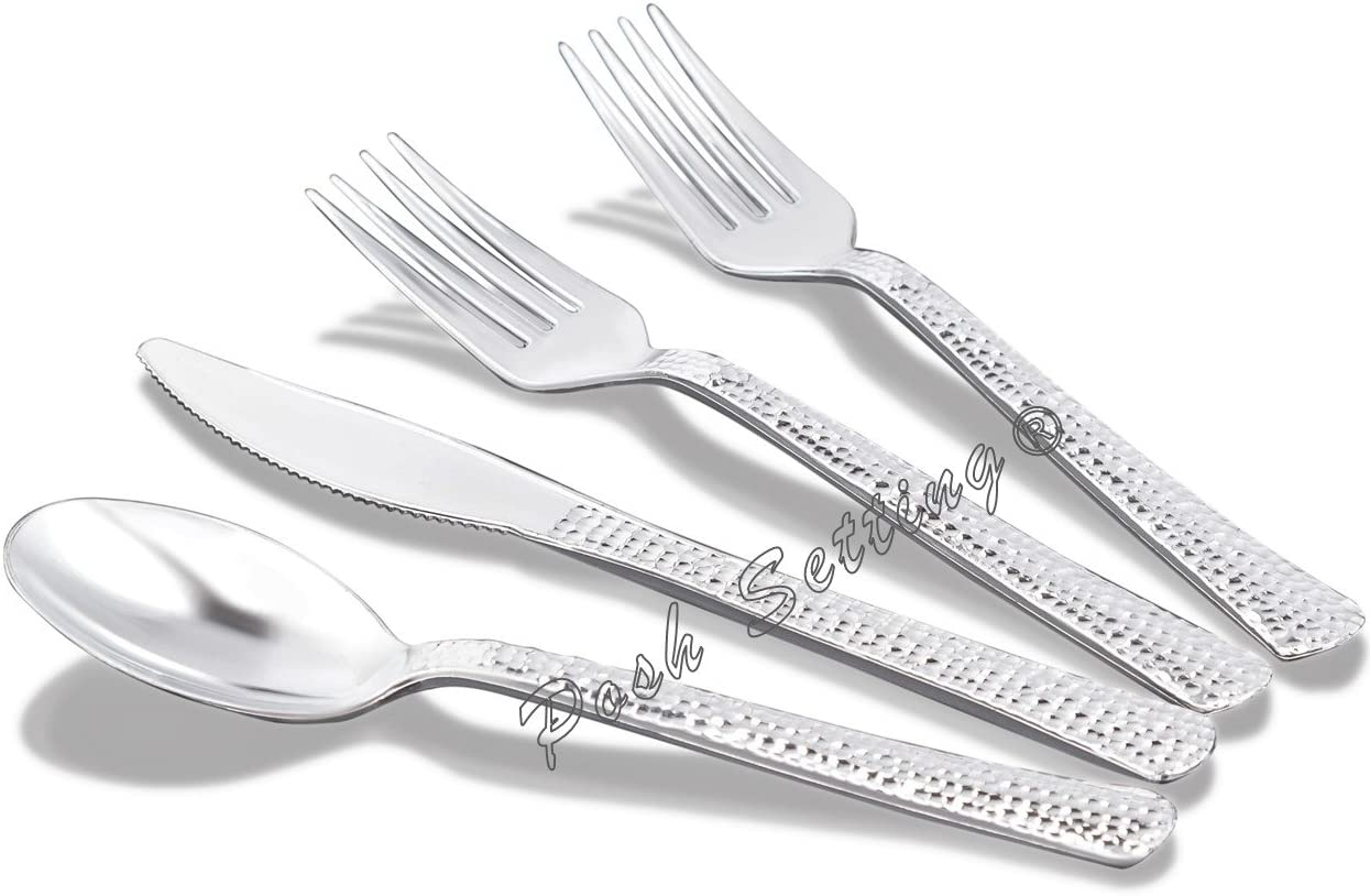 Posh Setting Elegant Polished Heavyweight Plastic Silver Cutlery 160 PC Set
