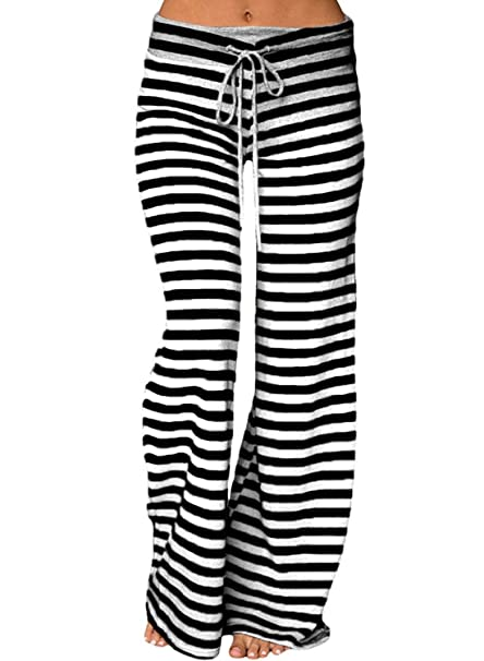 YiYaYo Women Plus Size Striped Wide Leg Drawstring High ...