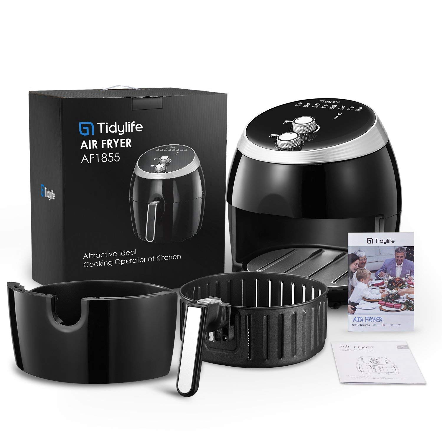 Air Fryer, Tidylife 6.3QT Large Air Fryer, 1700W Oilless XL Oven Cooker, Smart Time and Temperature Control, 7 Cooking Preset, 180-400℉Hot Air Fryer with Non-stick Basket, Auto Shut Off, 50+ Recipes by Tidylife (Image #9)