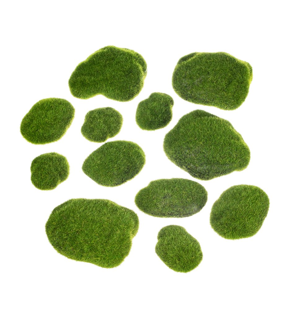 Set of 12 Assorted Sullivans 2.5''-4.5'' Artificial Moss-Covered Stones