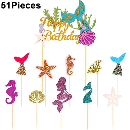 51 piezas de decoración para cupcakes con diseño de sirena ...