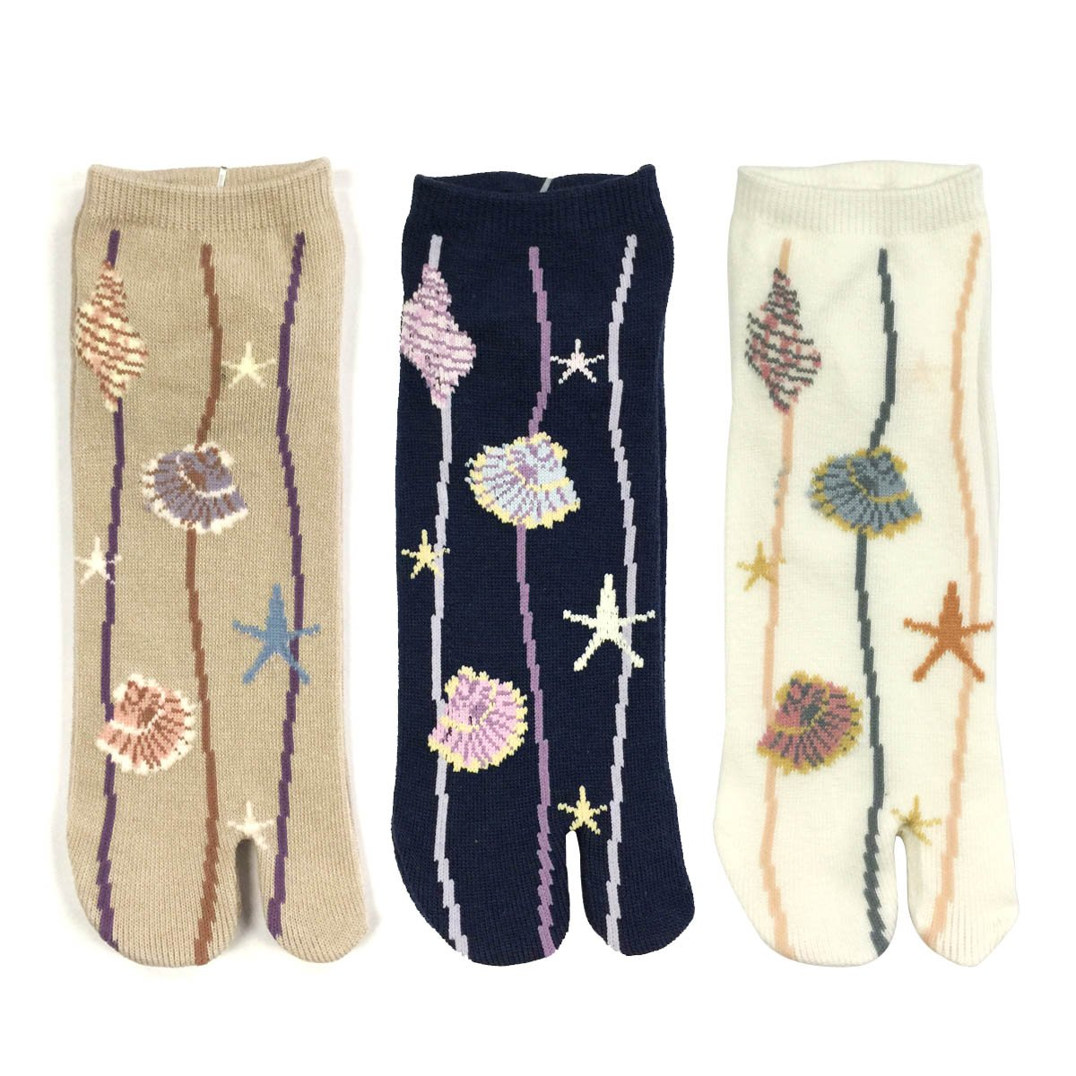 Wrapables Tabi Flip-Flop Socks (Set of 3), Ankle Length Seashells
