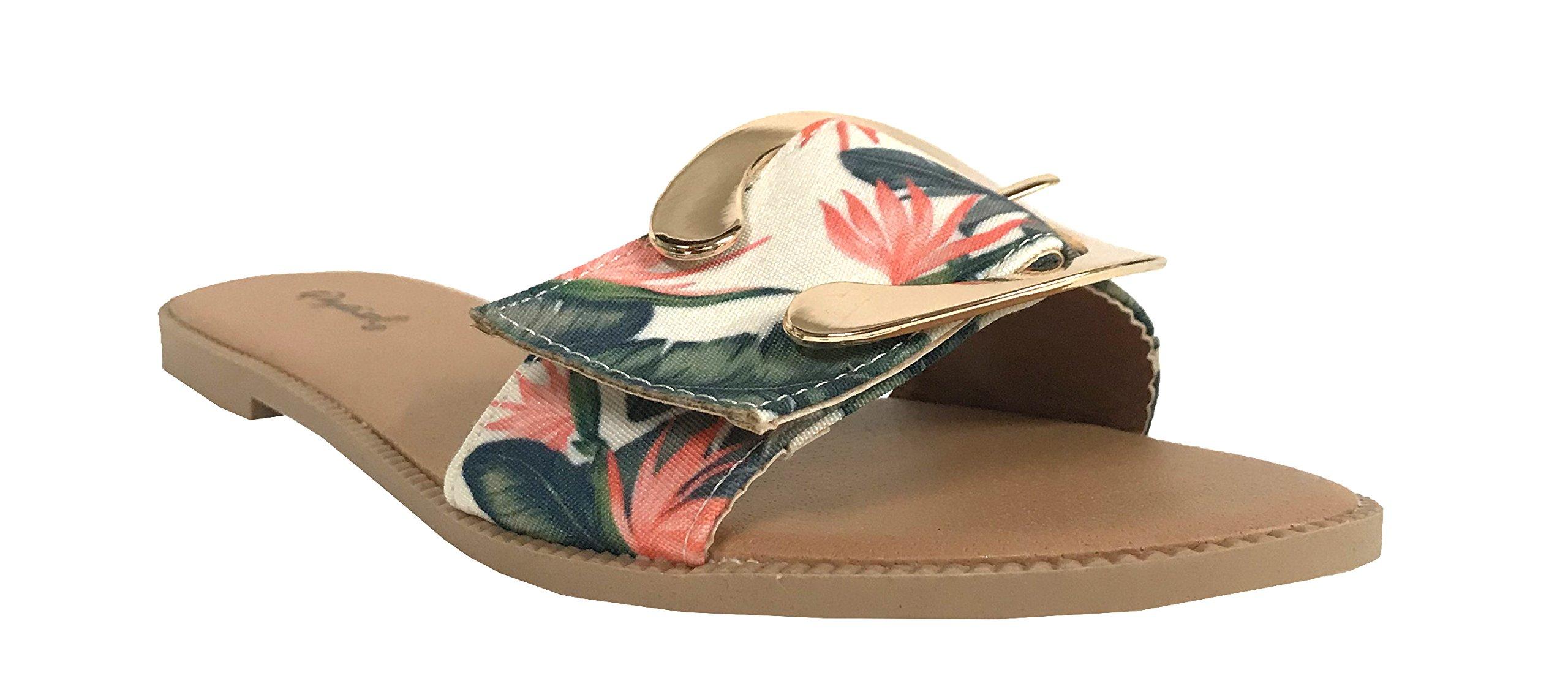 Qupid Desmond-5 Women's Metallic Accent Detaling Slide Sandals, Green Coral Flower Fabric 10 M US
