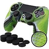 Pandaren® BORCHIE silicone custodie cover pelle antiscivolo per PS4 controller x 1 (camuffamento verde) + FPS PRO thumb grips pollice prese x 8