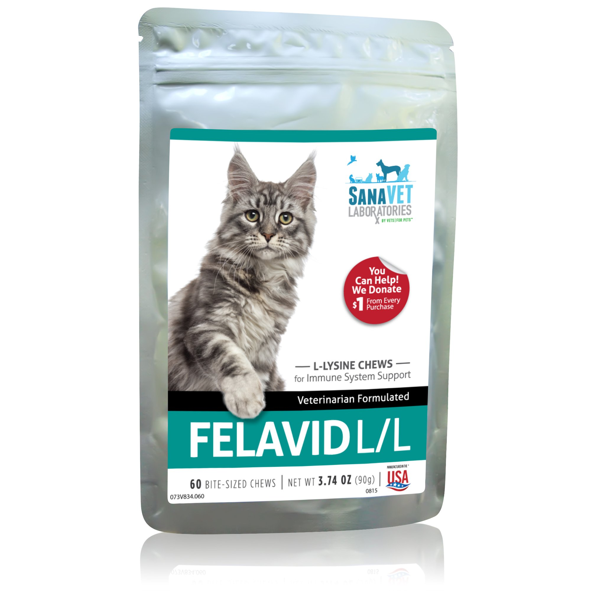 L Lysine for Cats - Tasty Chews for Immune System Support 3.74oz by Sanavet Laboratories