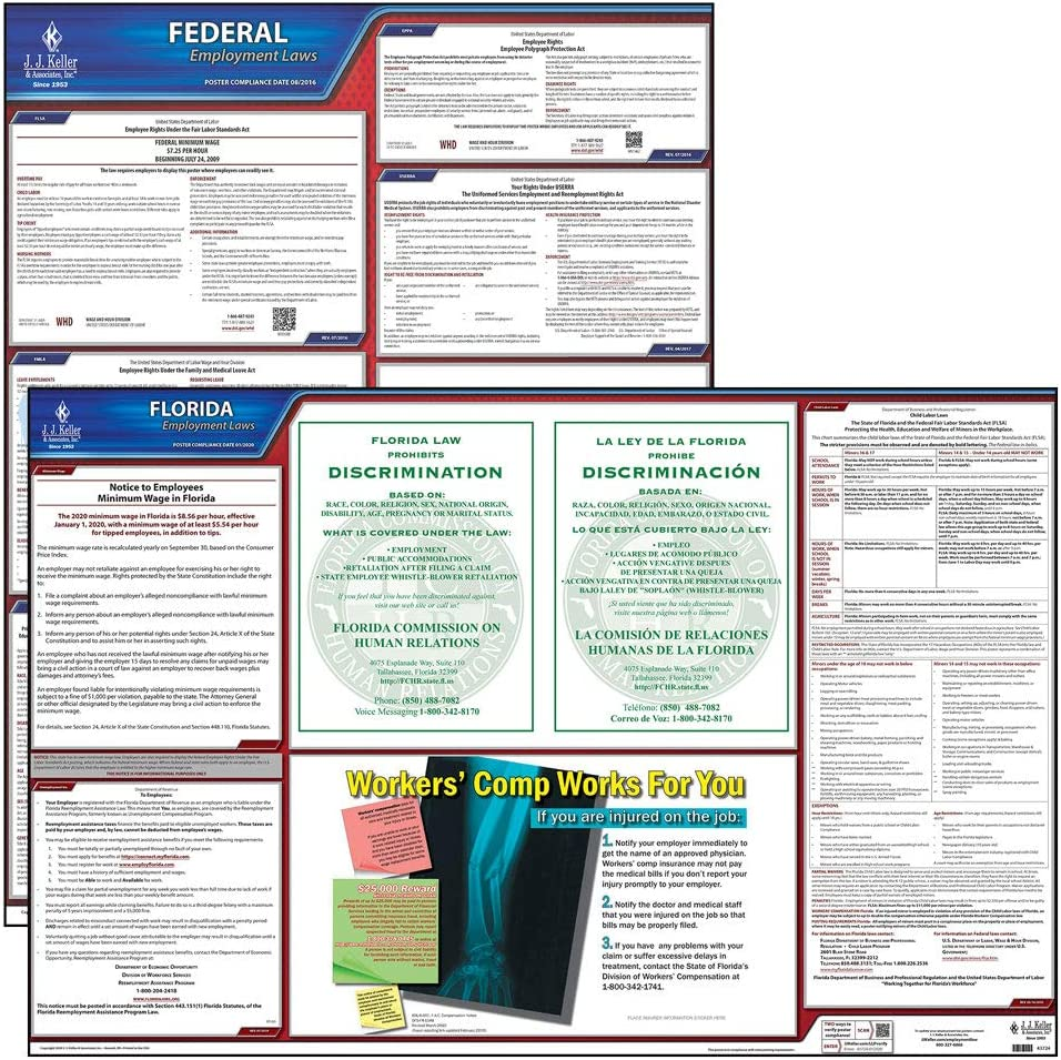 2020 Florida State and Federal Labor Law Poster Set (English, FL State) - OSHA Compliant Laminated Posters - Includes FFCRA Poster