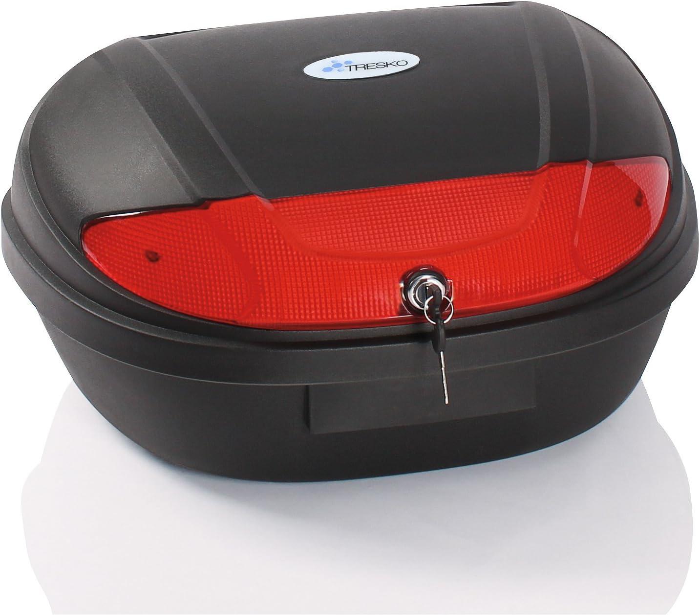 TRESKO® Universal Baúl de moto XXL maleta para dos cascos, capacidad de 48 litros, topcase universal, para scooter, motocicletas, ciclomotores y quads, cerradura con dos llaves