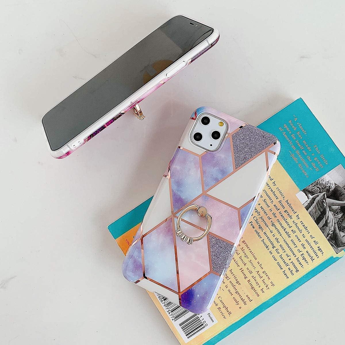 Saceebe Compatible avec iPhone 11 Pro Max Coque Silicone Motif G/éom/étrique Marbre TPU Housse Etui Souple Coque avec T/él/éphone Anneau Bague Support Paillette Brillant Strass,Rose