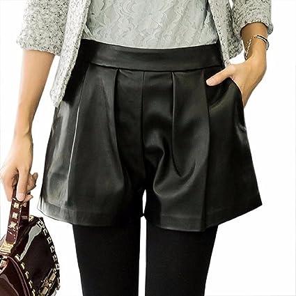 c99e581088aaf9 Malloom Ampi pantaloncini di pelle, gamba larga, short, colore: nero nero  nero L: Amazon.it: Prima infanzia