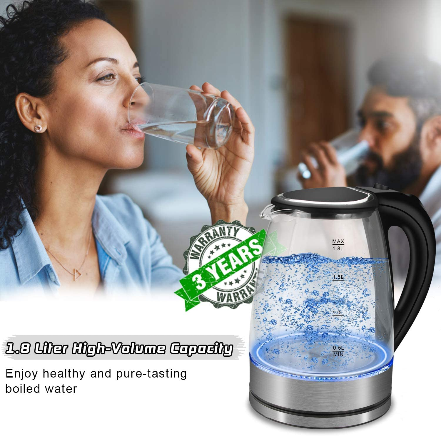 Auto-Off /& Boil-Dry Protection BPA-Free 1.8L Fast Boil Water Kettle 2200W with Illuminated LED LUOWAN Glass Electric Kettle