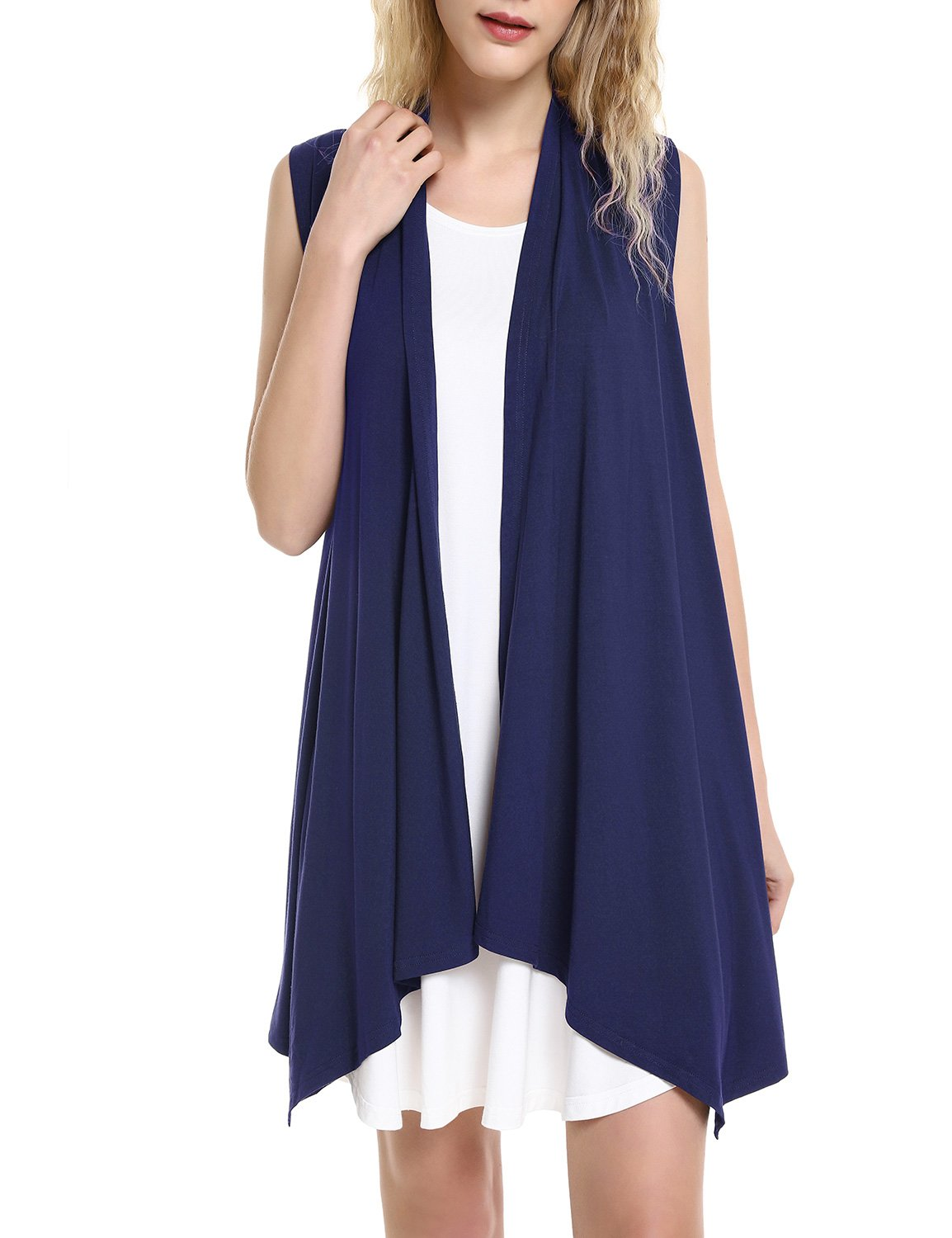 ZAN.STYLE Women's Lightweight Sleeveless Draped Open Front Cardigan Vest Navy Large