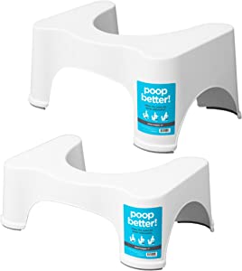 Squatty Potty The Original Bathroom Toilet Stool, 7 inch and 9 inch, White, (Pack of Two)