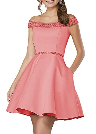 WiWiBridal Womens Off-The-Shoulder Short Homecoming Dress Beading A-line Cocktail Gowns