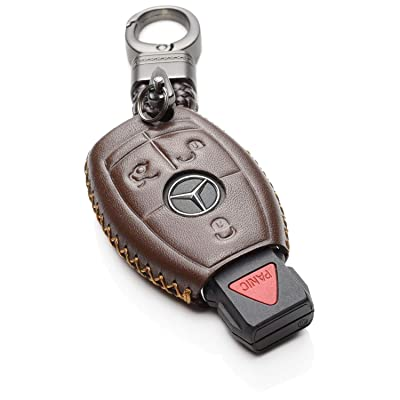 Vitodeco Leather Keyless Entry Remote Control Smart Key Case Cover with a Key Chain for Mercedes Benz (Brown): Automotive