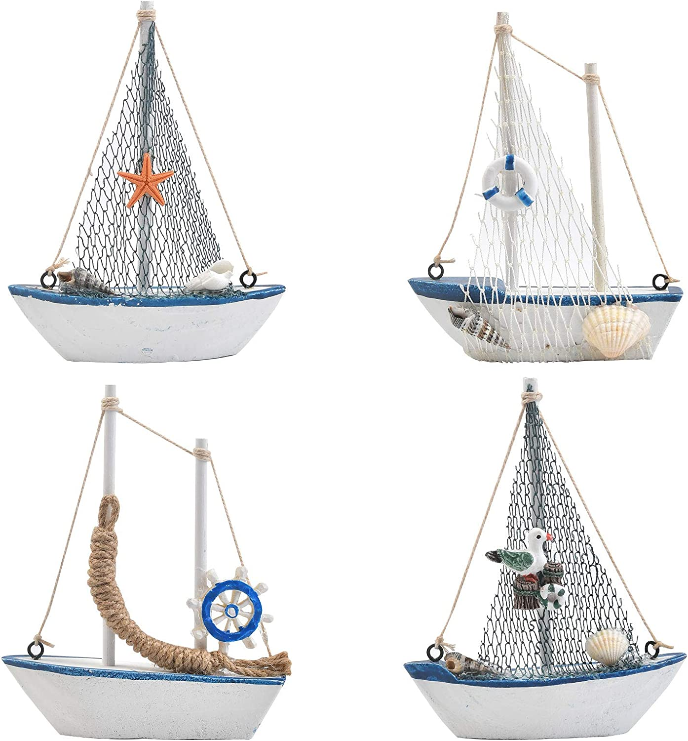 BUYGOO 4 Pack Mini Sailboat Model Decoration, Wooden Miniature Sailing Boat Home Decor Set, Beach Nautical Design, Navy Blue and White, for Ocean Theme Decoration, 4.3 x 5.3 x 1.25 Inches (4 Different Design)