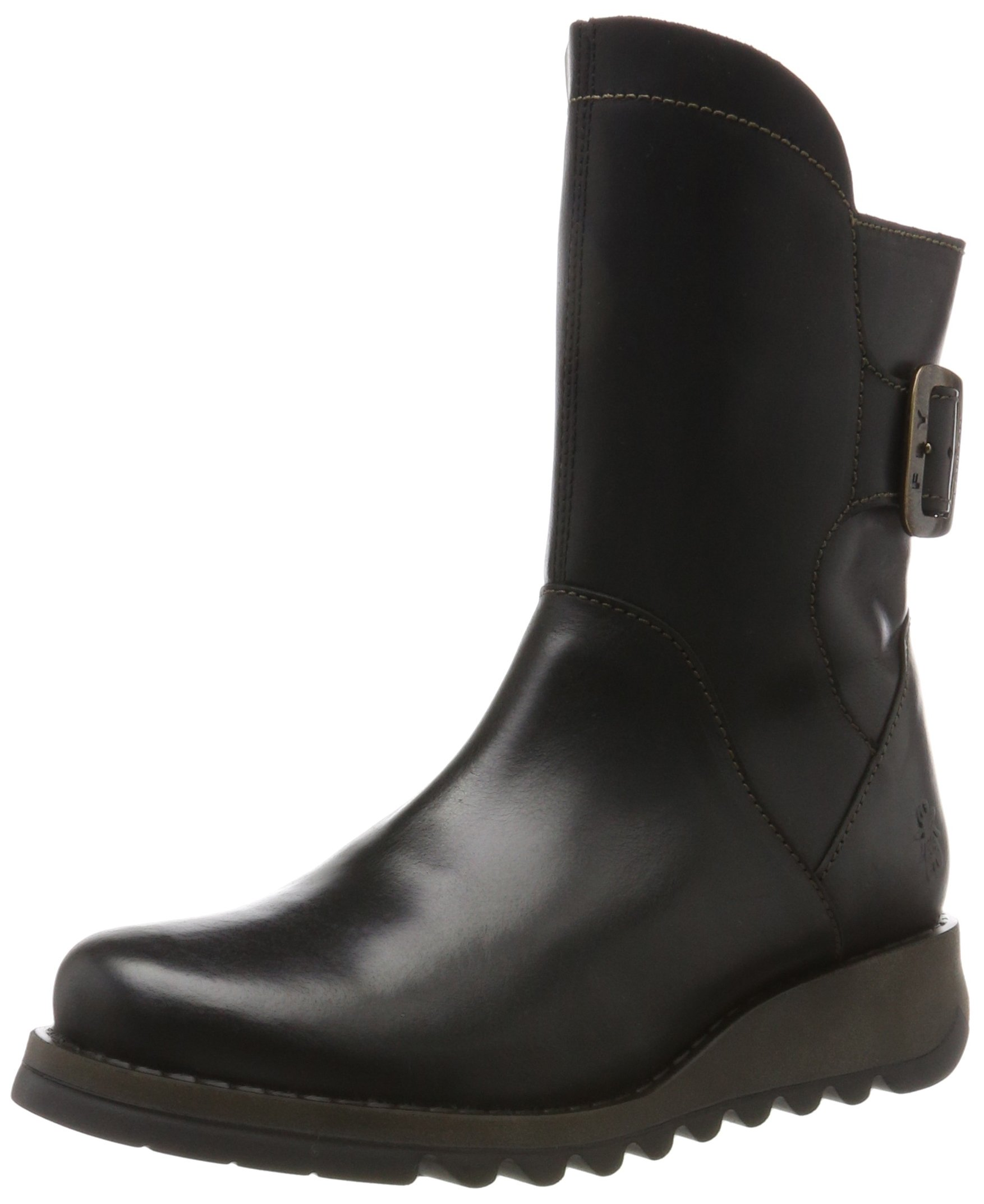 FLY London Sien Warm - Black Rug (Leather) Womens Boots 7.5/8 US