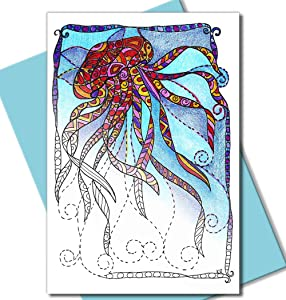 Art Eclect Adult Coloring Greeting and Thank You Note Cards Zentangle Nature Designs with Ocean Theme (12 Cards With 12 Different Drawings and 12 Blue Envelopes Included, Set Under the Sea)